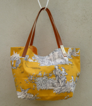 "Sac shopping ""Toile de Jouy moutarde"" (size M)"