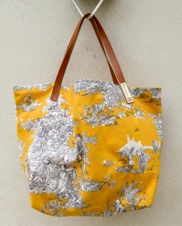 Sac shopping - Toile de Jouy jaune (size XL)