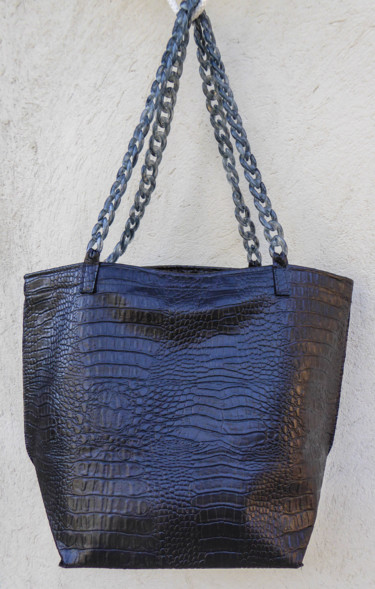 "Sac shopping ""Croco noir"""