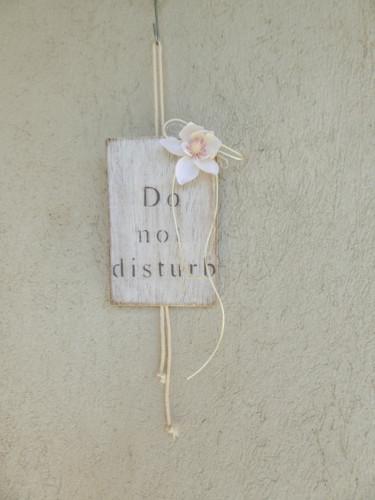 Pancarte de porte - bois cérusé et fleur de lotus