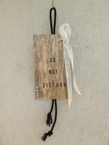 Pancarte de porte - bois veiné naturel