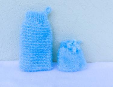 """Ensemble de gants  """"Tawashi"""" corps et visage - Turquoise"""